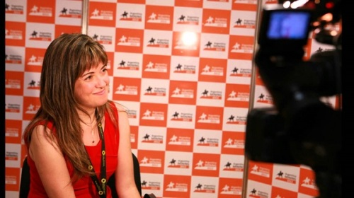 Paola being interviewed Argentina Mining 2012 b